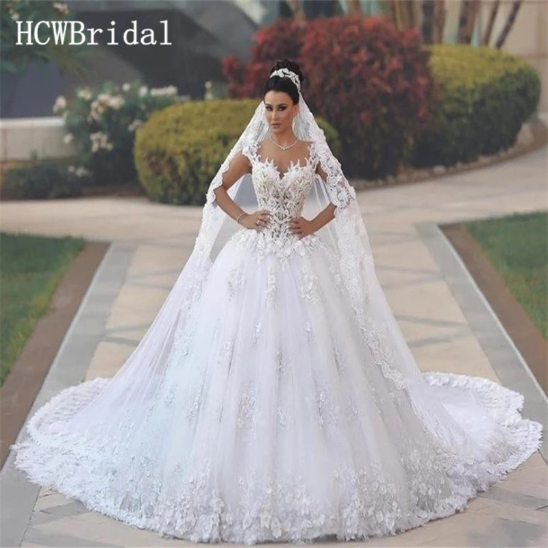 Luxury Long Train Lace Dubai Wedding Dresses 2019 High Quality Sweetheart A Line Backless Arabic Bridal Dress Customize
