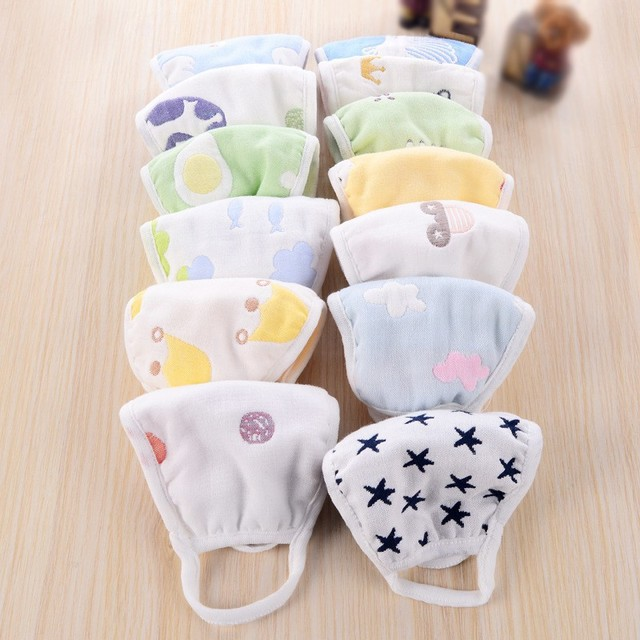 Children Kids Masks Cotton 6 Layers Of Gauze To Keep Warm Anti-Dust Windproof Mouth-muffle bacteria proof Flu Face safely 1
