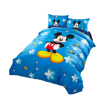 Blue Disney Cartoon Mickey Mouse 3D Print Bedding Set for Childrens Bedroom Decor Cotton Bed Sheet Duvet Cover Single Twin Queen