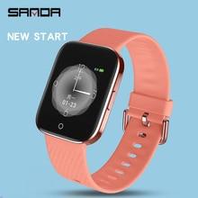 SANDA süper ince akıllı saat erkekler kadınlar IP68 su geçirmez spor Smartwatch nabız monitörü spor bilezik reloj zekası