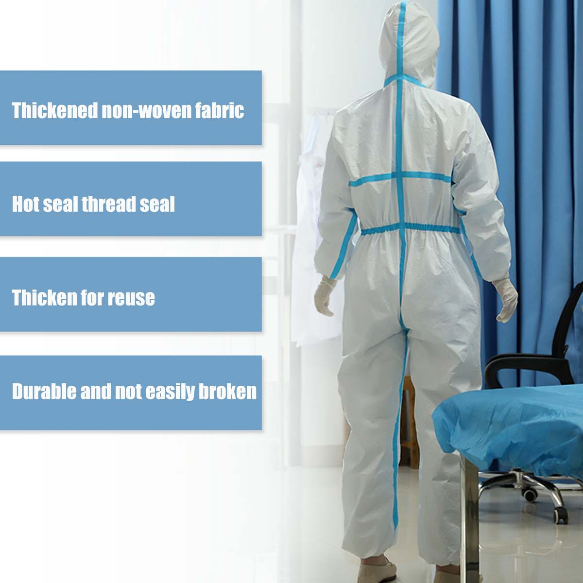 Disposable Siamese Protective Clothing Non-woven Overalls Isolation Clothing Anti-epidemic Clothing Spray Paint Working Wear