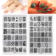 1Pc Big Nail Stamping Templates HK (01-11) 11 Styles Rectangle Plates Halloween Pattern Template Plate