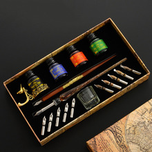 18 Pcs/Set Vinatge Glass Dip Pen 10 Nibs Wooden Fountain Pen Calligraphy Pen 4 Colors Ink Gift Box Art Writing Drawing Sationery