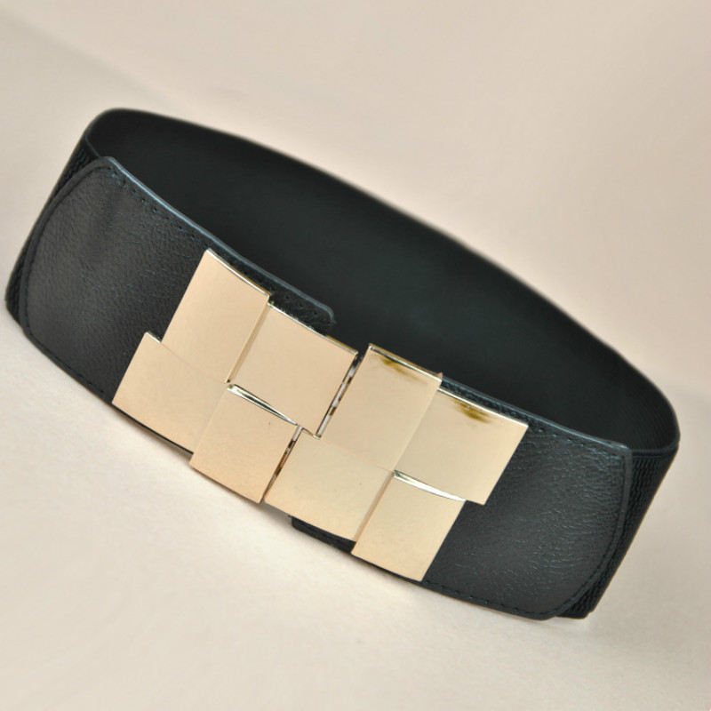High Quality Women's Wide Belt Multicolor Square Buckle Dress Decorated Women's Belt Slim Elastic Belt Large Female Belt Strap