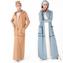 Открытые спереди Спортивные Хлопковые женские платья с карманами дизайн моды с длинными рукавами мусульманский юбка женские ботильоны юбки