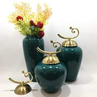 New Chinese Style Modern Showroom Pots Ceramic Ornament Brass Caps Handle Domestic Ornaments Three piece Set Metal Vase