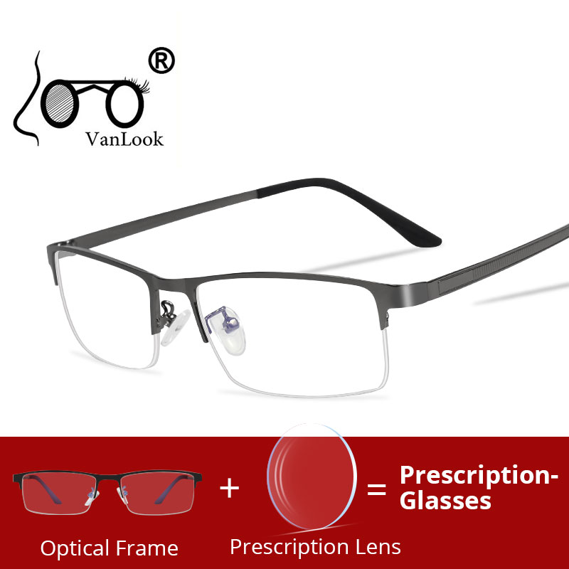 Prescription-glasses Men's Blue Light Blocking Computer Glasses Frame Prescription Eyeglasses Myopia Progressive Gaming Optical image