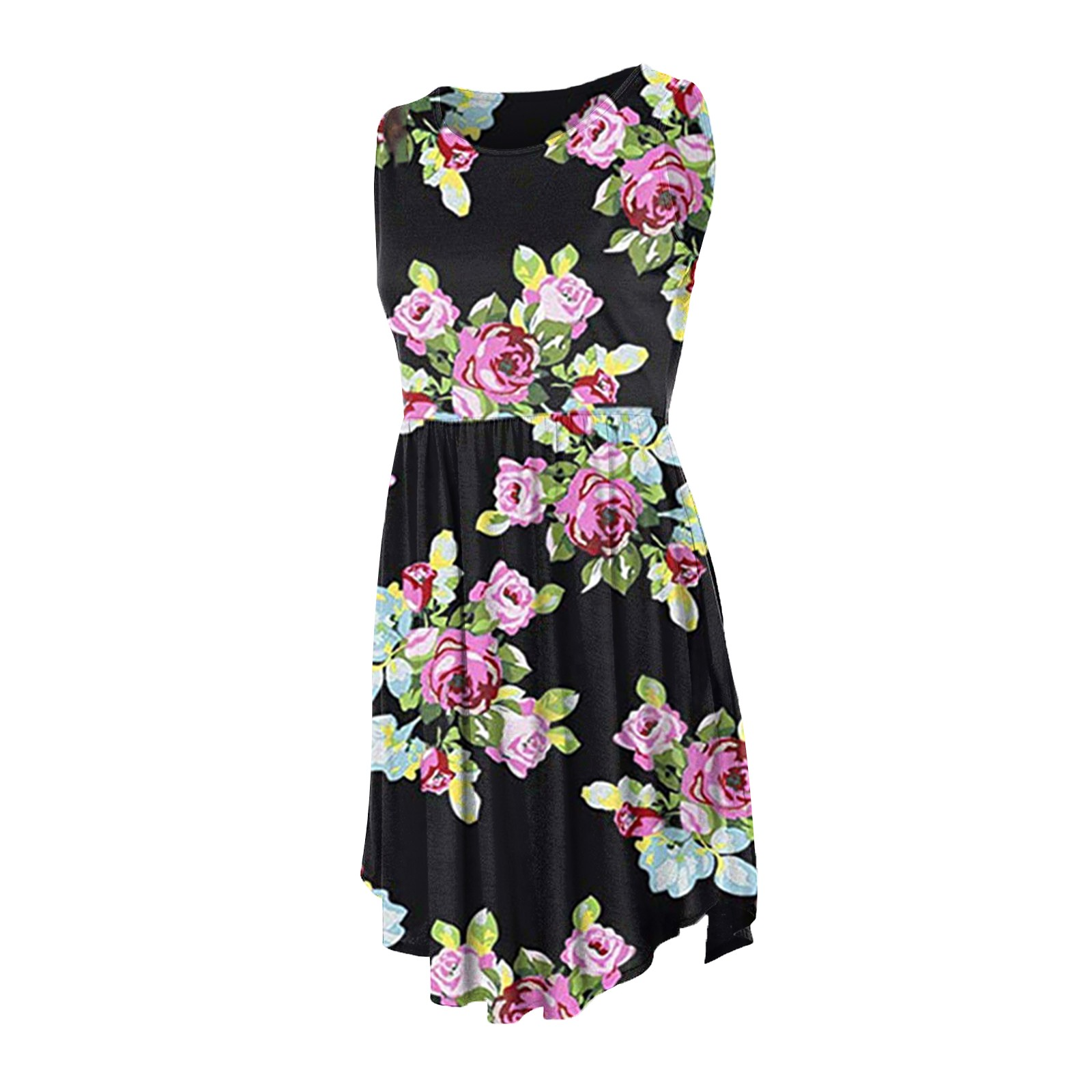Women's Summer Sleeveless Casual Dresses Swing Cover Up Elastic Sundress with Pockets 6