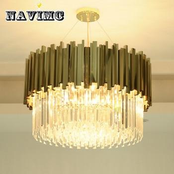 新しい高級クリスタルシャンデリア照明モダンなリビングダイニングルームゴールド kristallen kroonluchter led ライト