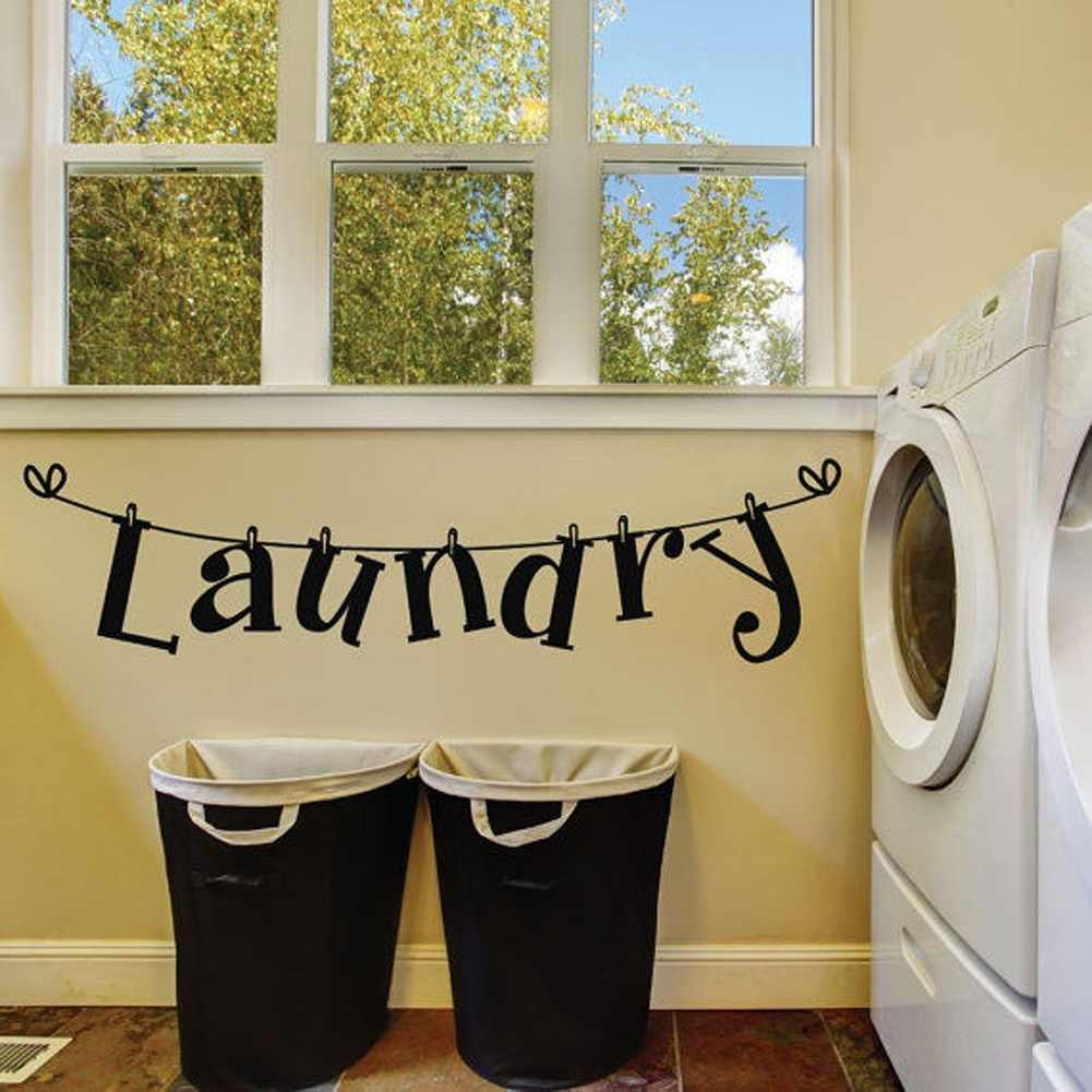 Laundry Room Vinyl Wall Sticker Laundry Signs Toilet Decals Home Decor Wall Stickers Aliexpress