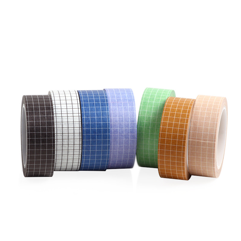 28 Pcs/Lot Multi Color Basic Grid Pattern Washi Tapes 15mm Adhesive Color Masking Tapes Decoration For Album Diary Book F939