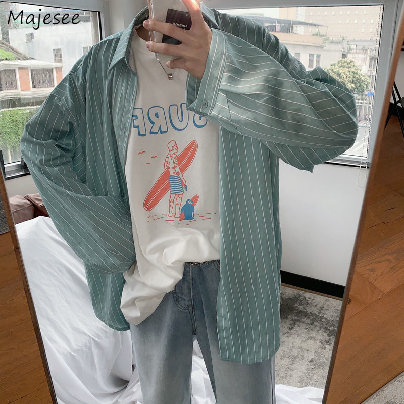 Men Shirts Striped Thin Oversize Sun Protection All-match Unisex Ulzzang Loose Male Tops Casual Trendy Long Sleeve Daily Chic BF