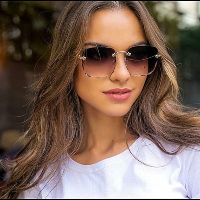 RBRARE Square Sunglasses Women Frameless Gradient Sun Glasses Women/Men Brand Designer Retro Pink Outdoor Lentes De Sol Mujer