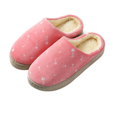2020 Autumn and Winter Cotton Slippers Lovers Women's Indoor Non-slip Thick-soled Warm Plush
