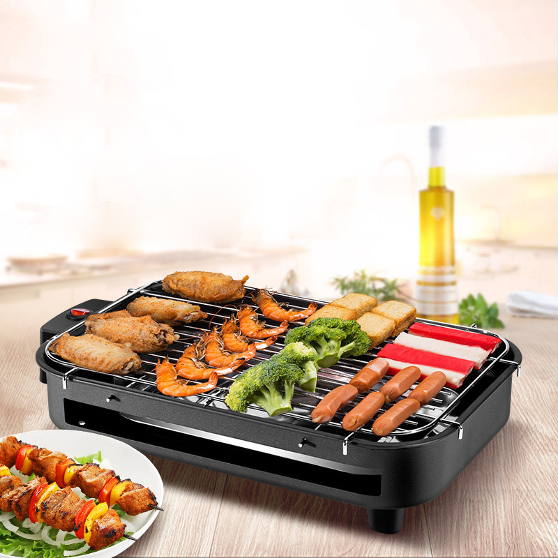 Multi-function Indoor Electric Grills Smokeless 220V BBQ Machine Roasting Pan Griddle Mini Barbecue Stove Machine Roaster 1300W(China)