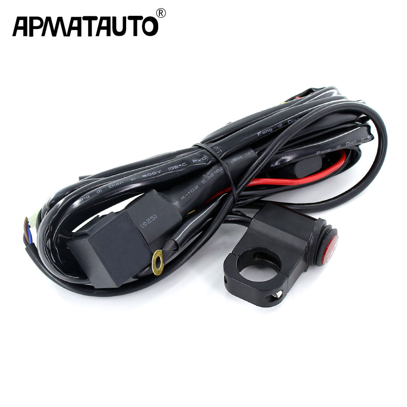 Apmatauto Motorbike car light Wire 12v 24v 15A Wiring Harness Relay Loom Cable Kit Fuse for Auto Driving Offroad Led Work Lamp