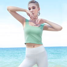Women Yoga Shirts Vest Ladies Girls Sleeveless Crop Top Square Neckline Sports Shirts Fitness Gym Workout Running Slim Top