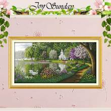 Green Lake Reflected Color Counted Cross Stitch 11CT 14CT Cross Stitch Set Scenery Cross stitch Kits Embroidery Needlework