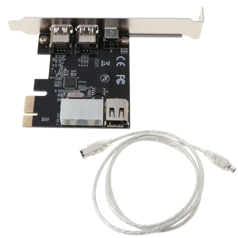 PCI-e 1X IEEE 1394A 4-портовый (3 + 1) адаптер карты Firewire 6-4-контактный кабель для настольного ПК K1AA