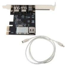 Pci-e 1x ieee 1394a 4 porto (3 + 1) firewire adaptador de cartão 6-4 pinos cabo para desktop pc k1aa
