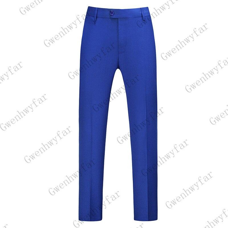 Gwenhwayfar, мужские синие клетчатые брюки, деловой костюм, брюки, деловые повседневные облегающие брюки, Классический Клетчатый костюм, брюки для свадьбы - Цвет: royal blue