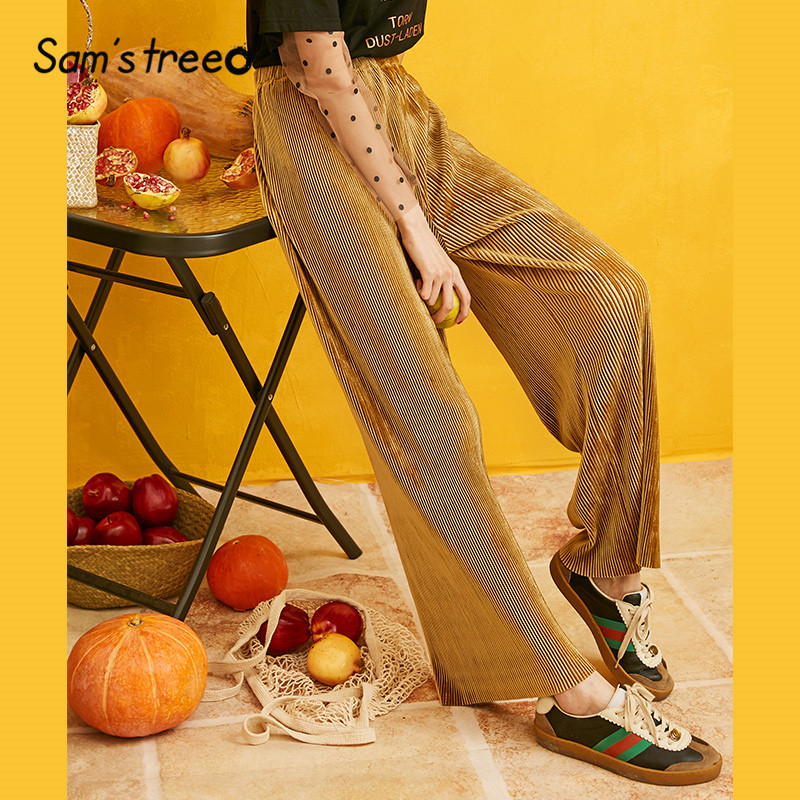 SAM'S TREE Striped Solid Velvet Wide Leg Women Pants 2019 Autumn Winter Straight Loose Casual Korean Office Ladies Trousers