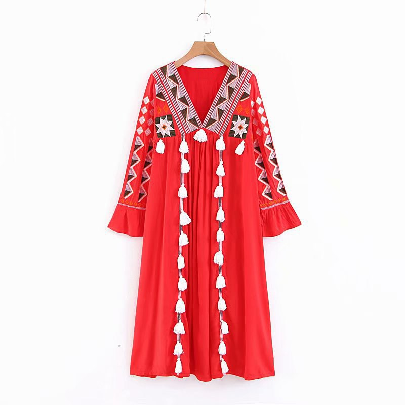 Été femmes broderie ethnique Hippie Boho Maxi Robe longue Robe col en v dames gland Robe Vestido