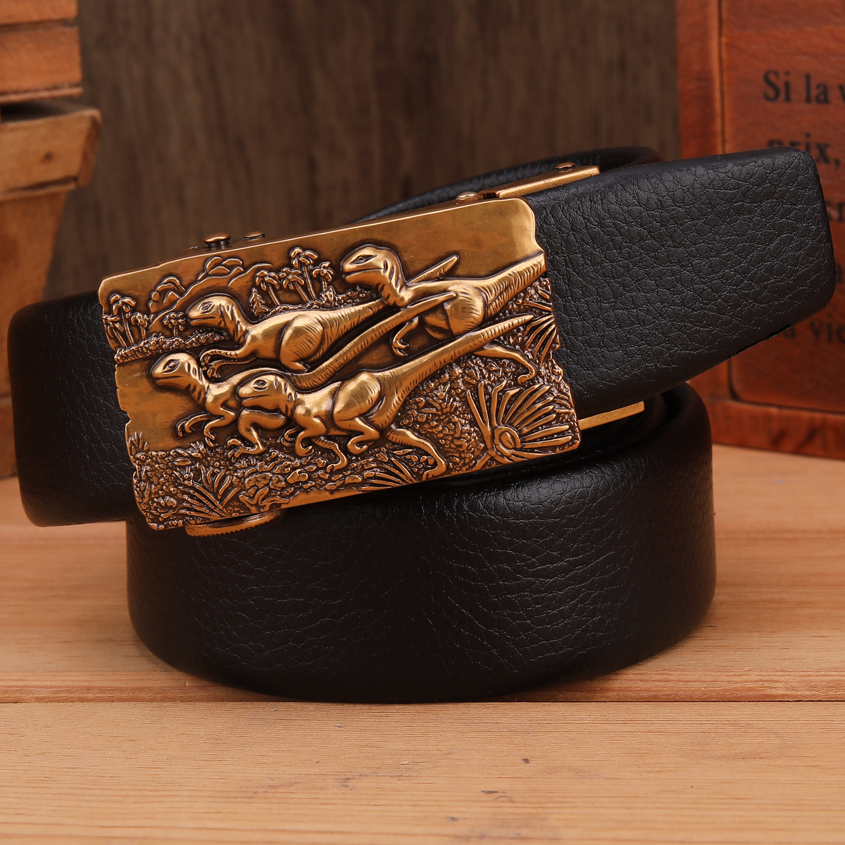 Luxury Men/'s Leather Belt Automatic Buckle Waist Strap 120CM Size 36 OR Less