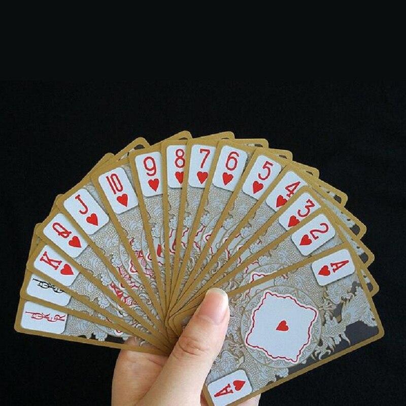 55 pièces/ensemble durable imperméable à l'eau demi transparent pvc en plastique poker set cartes à jouer magiques pont dragon nouveauté collection cadeau