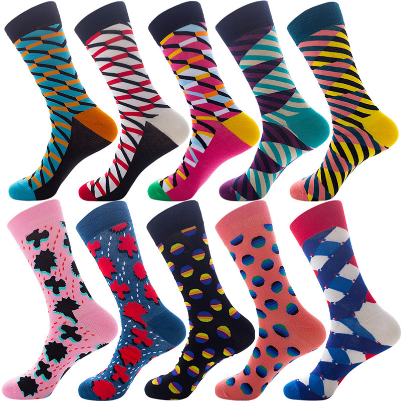 30 Pairs High Quality Crew Cotton Socks Male Casual Colorful Printed Happy Socks Man Business Socks