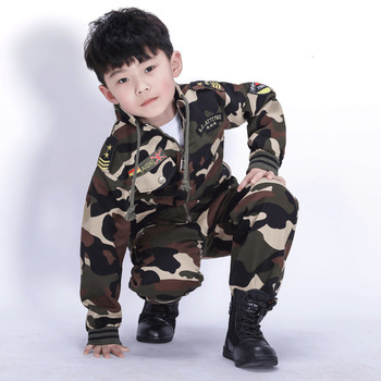 Outdoor Military Tactical Breathable Pure Cotton Fabrics Long Sleeve Suit Children Hiking Camping Climbing Trekking Kids Clothes