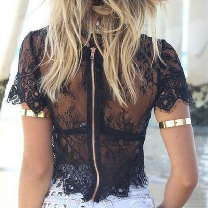 See-through Women Mesh Sheer Blouse Top Transparent Lace Hollow Out Short Sleeve Blouses Zipper Back Crop Top Female Cover Up