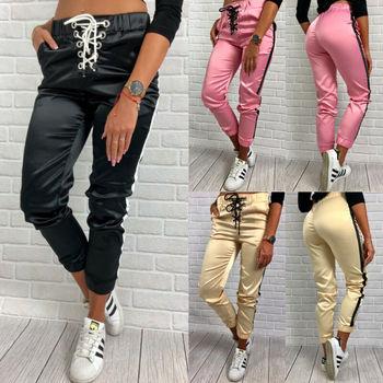Nowy 2019 kobiety Skinny długie spodnie OL na co dzień łuk-knot moda Slim wygodne spodnie tanie i dobre opinie WANGSCANIS Pełnej długości Poliester Pants Capris Stałe Ołówek spodnie Elastyczny pas Mieszkanie Wysoka Suknem Luźne