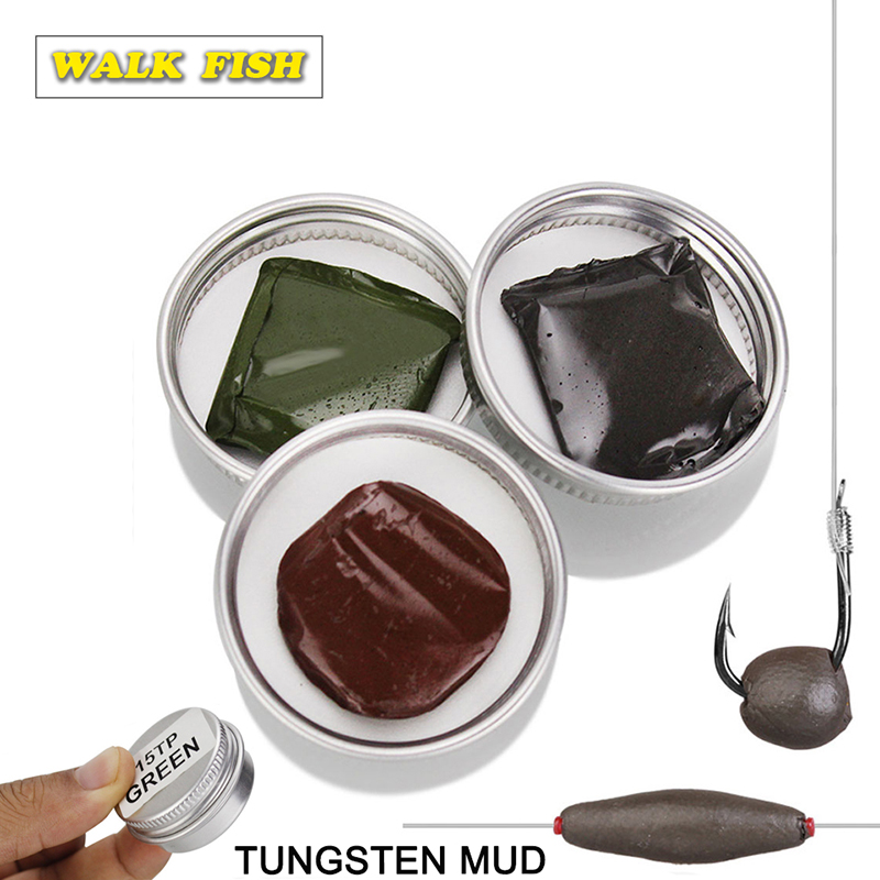 1Pcs Walk Fish Carp Fishing Accessories 15g Tungsten Mud Lead Weights Terminal Black/Green/Brown Color For Fishing Sinker