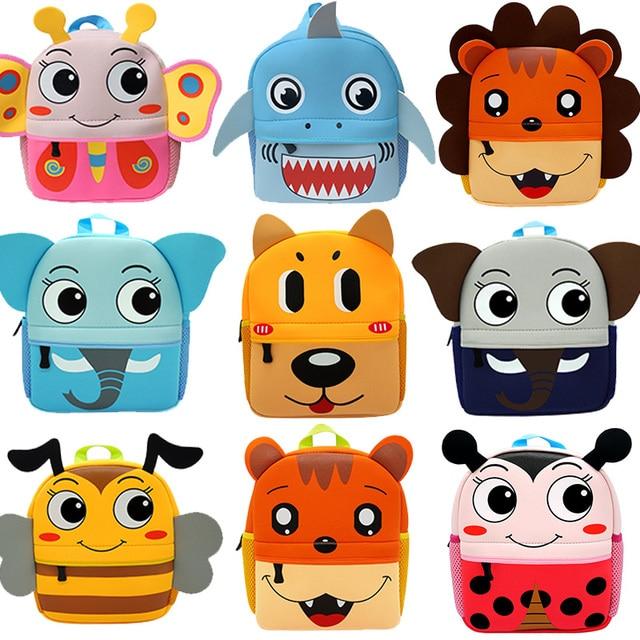3D Cartoon Children Backpacks Girl Boys School Bags Baby Cut Toddler Kids Bag Neoprene Backpack Kindergarten Bag Brand Design