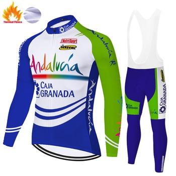 Jersey de ciclismo azul para hombre, ropa térmica de lana para invierno,...