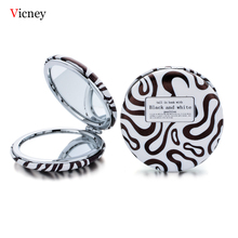 Vicney 2019 New Design Mini Pocket Cosmetic Mirror Fashion Chocolate Color Makeup Mirrors Compact Beauty Double-Sided