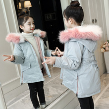 Girls Winter Coat 2019 High Quality Children Fur Hooded Warm Parka Down Cotton Jacket Toddler Kids Long Coats Outerwear Clothes стоимость