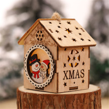 Милый светодиодный светильник деревянный дом Рождественская елка висячие украшения Санта снеговик, рождественские украшения для дома adornos de navidad