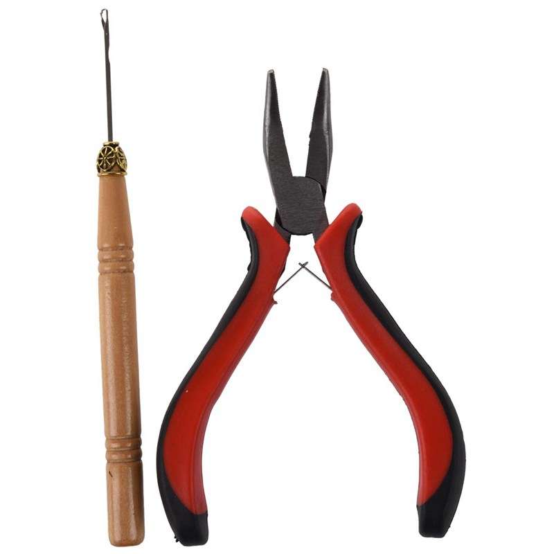 NEW-Stick Hair Extension Straight Pliers & Needle Drag Hook Tool For Mini Rings