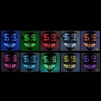 LED Mask Halloween Scary Mask Cosplay Costume Frightening Glowing Mask EL Wire Light Up Mask For Halloween Festival Party