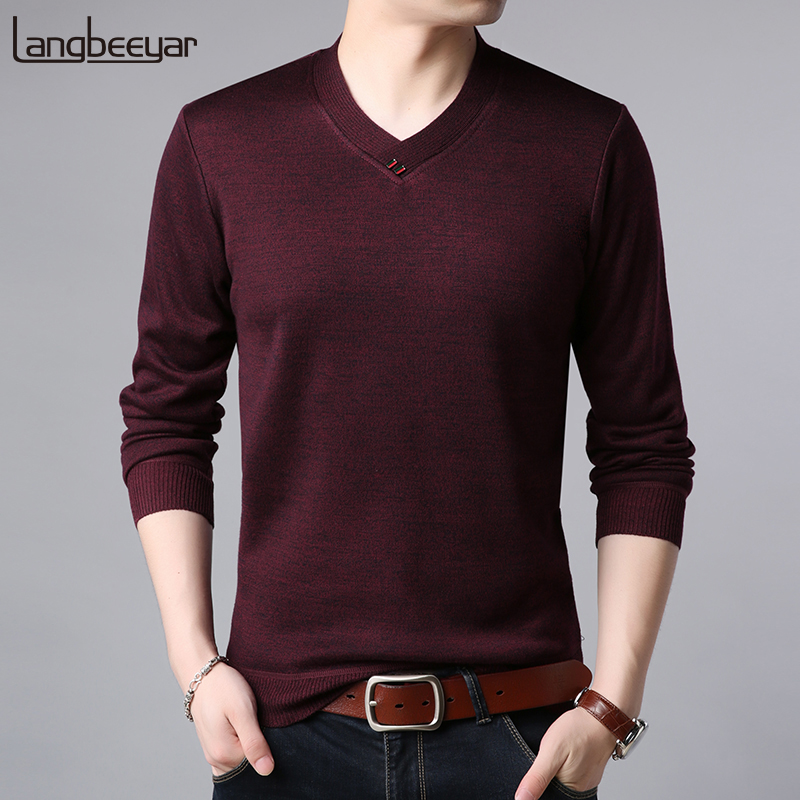2019 New Fashion Brand Sweaters Mens Pullovers V Neck Slim Fit Jumpers Knitwear Woolen Winter Korean Style Casual Clothing Male