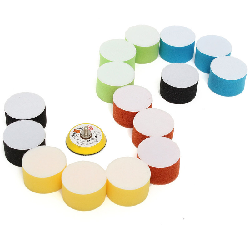 Efficient 16Pcs/Set 2 Inch 50mm Buffing Pad Polishing Pad Kit For Car Polisher Psds M10 Thread Abrasive Tools