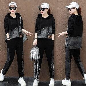 Image 4 - Max lulu outono marca de moda coreana senhoras duas peças conjunto roupas de fitness das mulheres denim topos harem calças suor do vintage treino