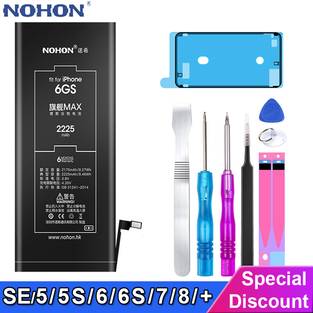 NOHON batería Original de alta capacidad para iPhone 6S 6 7 8 Plus 5 5S 5C SE batería de repuesto para teléfono móvil + herramientas gratis