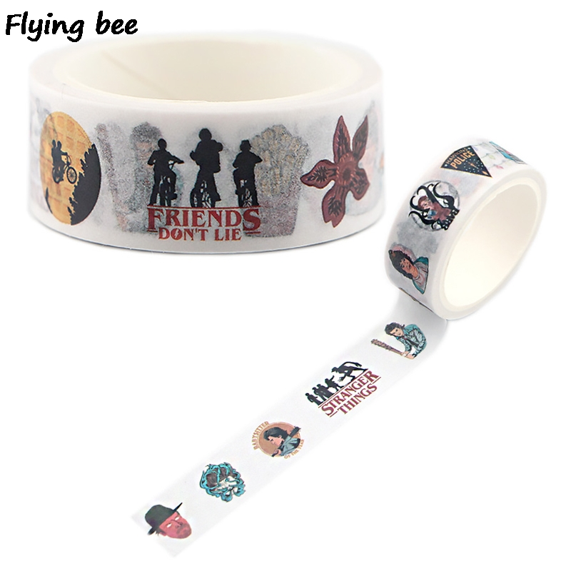 Flyingbee 15mmX5m Stranger Things TV Shows Washi Tape Paper DIY Decorative Adhesive Tape Stationery Masking Tapes Supplies X0503