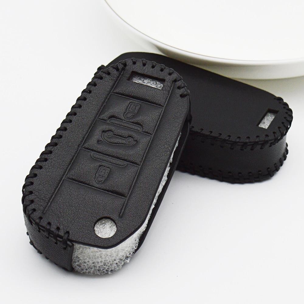 Carcasa de protección para llave de coche de cuero para Citroen Jumpy C3 Grand C4 Picasso Xsara Cactus DS5 C5 X7 Berlingo llavero Accesorios