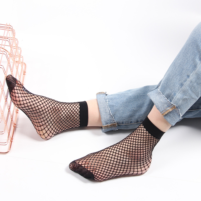 Fishnet Socks Summer Fashion Anti Slip Women Sexy Mesh Sock Harajuku Black Hollow Breathable Thin Net Sale Nylon Cool Streetwear