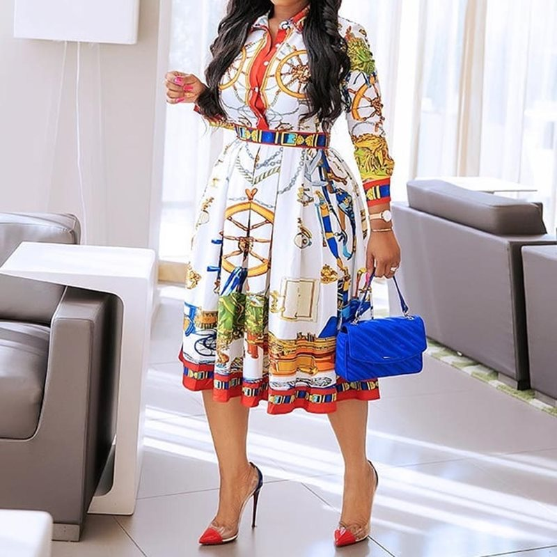Fall Autumn 2019 Lapel Mid-Calf High Waist Dress Big Plus Size Geometric Printed Elegant Office Ladies Tunic Pleated Midi Dress