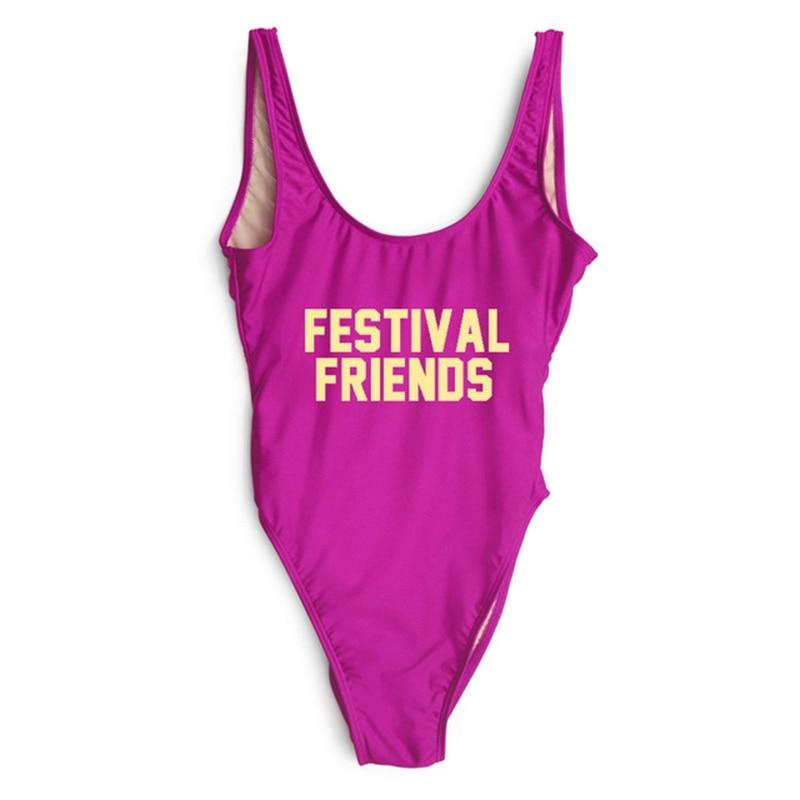FESTIVAL FRIENDS Letter Print One Piece Swimsuit Women Swimwear Bathing Suit swimming suit for women Beachwear monokini Bodysuit in Body Suits from Sports Entertainment